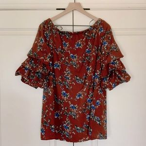 Off-shoulder Floral Top with Ruffle Sleeves - NWOT